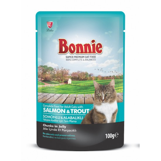 BONNIE POUCH FOR CAT WITH SALMON AND TROUT CHUNKS IN JELLY - 100 Gr